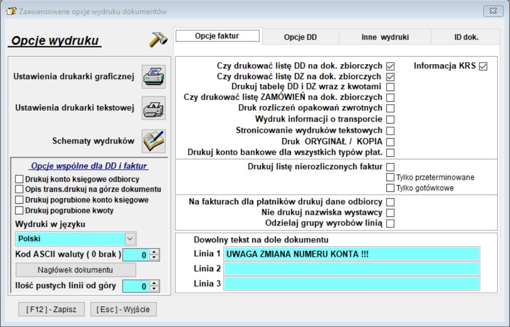 Infopiek program dla cukierni opcje faktur