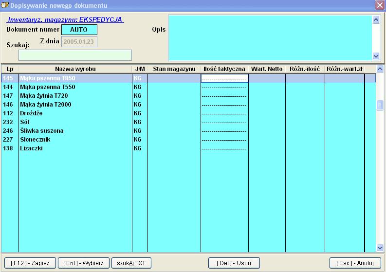 Infopiek Produkcja screenshot inwentar
