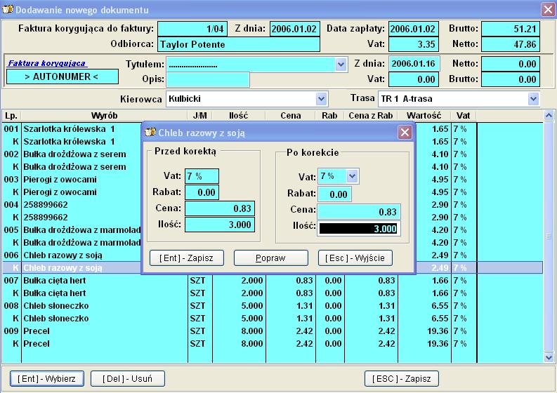 Infopiek sprzedaż screenshot faktura korygująca