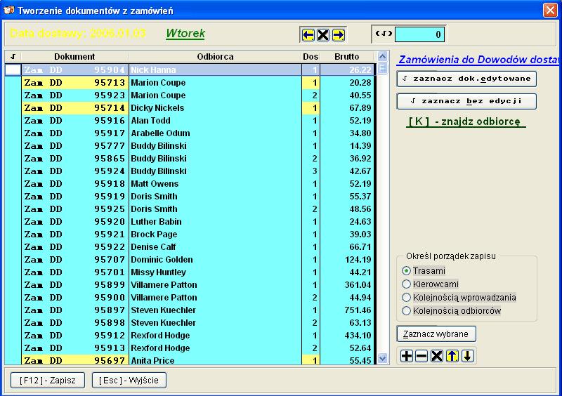 Infopiek sprzedaż screenshot tworzenie dokumentu