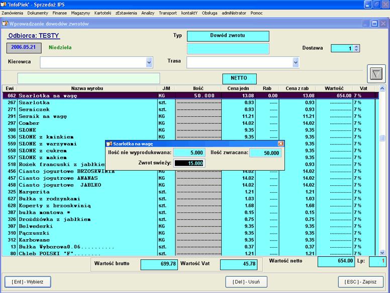 Infopiek sprzedaż screenshot zwrot