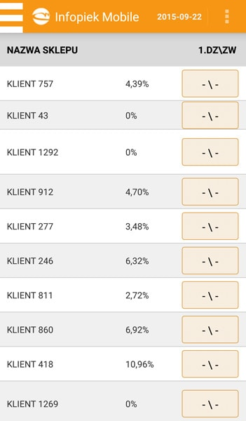 Infopiek mobile screenshot klienci