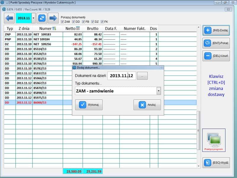Info Net screenshot wybór punktu sprzedaży