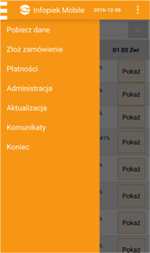 Infopiek Mobile oprogramowanie dla piekarni i cukierni menu