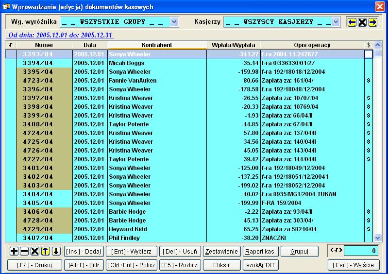 Infopiek sprzedaż screenshot dokumenty kasowe