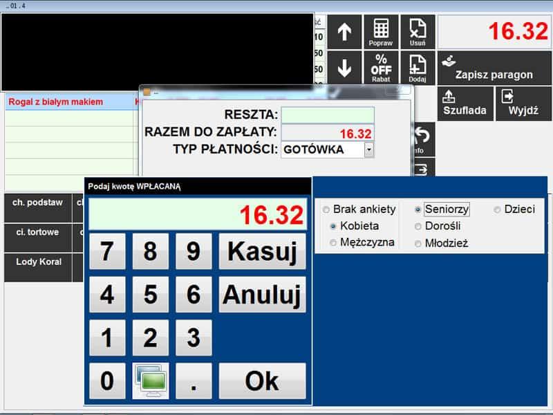 Info Net screenshot kasa